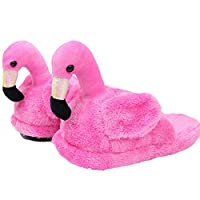 seemehappy Adorable Plush Flamingo Slippers Winter Warm Slippers House Slippers