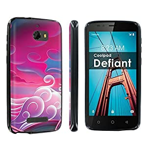 [POPCulture] Gummy Gel TPU For CoolPad Defiant [Black] Total Shock Absorption Bumper Slim-Fit Flexible TPU [Screen Protector]- [Pink Clouds] Print Design