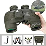 BNISE 10x50 Binoculars for Adults Hunting Rangefinder Built-in Compass with Harness Strap, Military