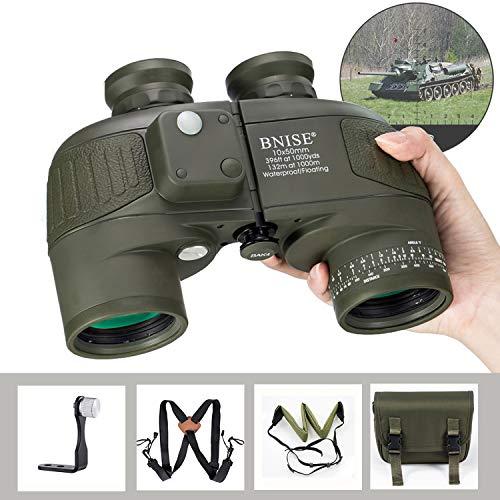 BNISE 10x50 Binocolo Compatto Safari per Adulti e Bambini, con Bussola e Telemetro Incorporati, con Cinghia a Tracolla, HD Militare Marino Telescopio ad Alta Potenza