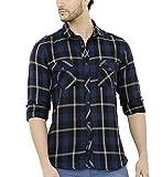 #8: Nick&Jess Mens Blue & Black Check Casual Flannel Shirt