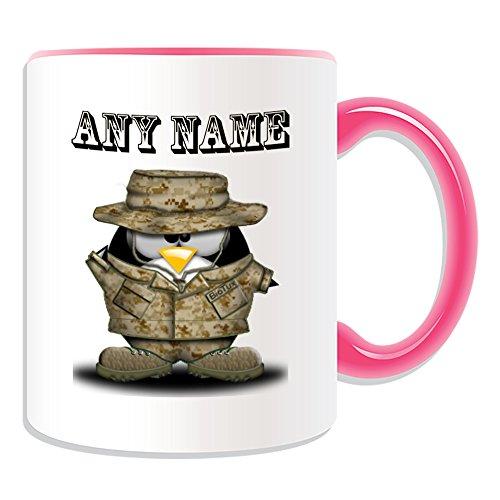 Personalisiertes Geschenk-Soldat, der hat Tasse (Pinguin in Kostüm Design Thema, Farbe Optionen)-alle Nachricht/Name auf Ihre einzigartige-Army Military Forces Uniform Salute bewaffneten, keramik, rose (Kostüm Soldat Rose)