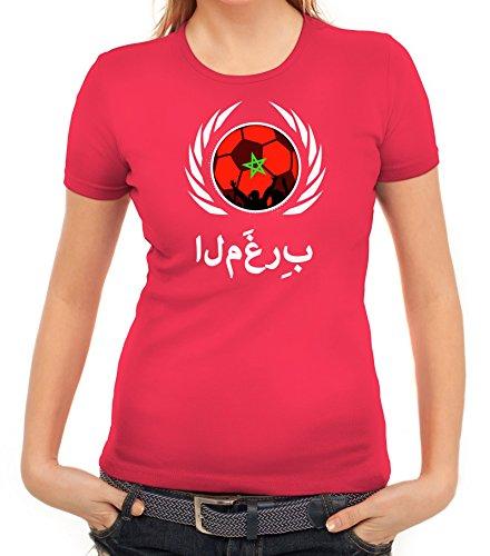 ShirtStreet Marocco Wappen Soccer Fussball WM Fanfest Gruppen Fan Wappen Damen T-Shirt Fußball Marokko Pink