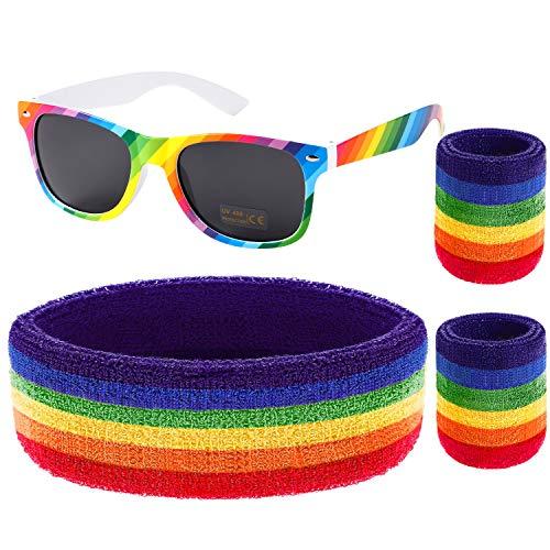 VAMEI Gay Pride Schweißband-Set Regenbogen LGBT Armband Sonnenbrille Unisex Sport Schweissband Kopf Frottee -Armband Wristbands Sweatbands CSD für Herren Damen -