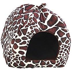 Encantador Fresa Suave Cachemira Calentar Mascota Nido Perro Gato Cama Plegable Leopardo
