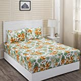 Maspar Superfine Cotton 144 TC Yellow Double Bedsheet with 2 Pillow Covers