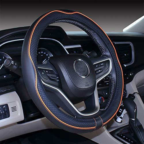 Istn Mikrofaser Leder Auto Lenkradbezug 38cm für die meisten Autos (Black Orange)