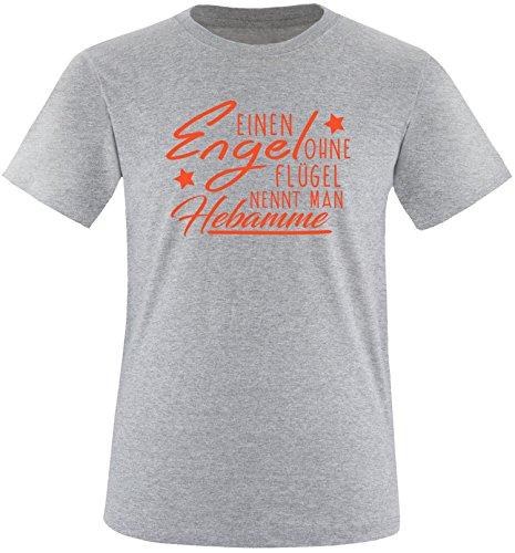 EZYshirt® Ein Engel ohne Flügel nennt man Hebamme Herren Rundhals T-Shirt Grau/Orange