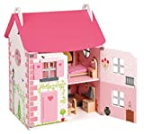 Janod Holzspielzeug - Puppenhaus Mademoiselle Wohnung komplett 41 x 30 x 54 cm, Rosa
