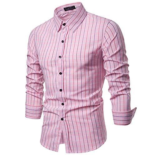 ZIYOU Herren Hemd Kariert Slim fit Hemden, Männer Trachtenhemd Oberteile für Freizeit Business Arbeit Langarm Button-down T-Shirts(Rosa,EU-42 / CN-S) - Rosa Button Down Shirt