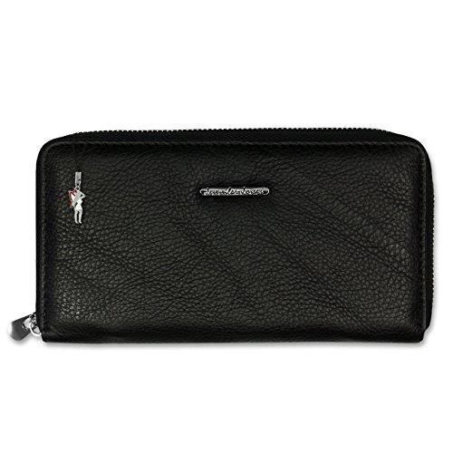 Geldbörse Wristlet schwarz Leder Damen Portemonnaie Handgelenktasche Jennifer Jones OTJ504S