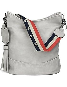 styleBREAKER Bucket Bag Schultertasche mit Statementgurt im USA Stars & Stripes Design, Handtasche, Tasche, Damen...
