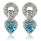 DTPsilver - Damen - Ohrringe 925 Sterling Silber Rhodium mit Blautopas und CZ Zirkonia Herz - Ohrstecker