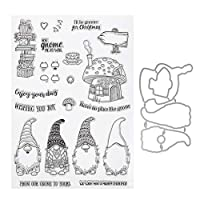 ‏‪EXCEART Christmas Clear Stamp Silicone Santa Mushroom Room Seal Stamps Journals Embossing Stamp Album Scrapbooking Seals with Cut Die for DIY Craft Xmas Card Making‬‏