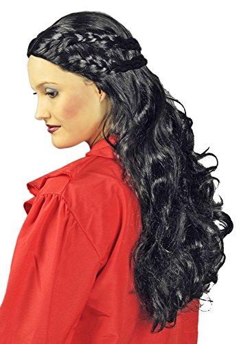 Langhaar Perücke Danaria - Schwarz - Wunderschöne Perücke für Mittelalter oder Vampir Kostüme für Damen