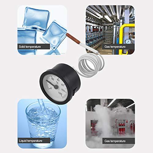 FairytaleMM TW-W53 Thermomètre à Cadran Jauge de température Capillaire 0-120C Capteur de Compteur d'eau et d'huile Great Weather Station Testeur Thermomètre