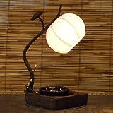 Nachttischlampe, aus Papier vom Maulbeerbaum, im Blütenknospendesign, rund, orientalisch, Pink / Braun
