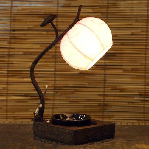 Nachttischlampe, aus Papier vom Maulbeerbaum, im Blütenknospendesign, rund, orientalisch, Pink / Braun -