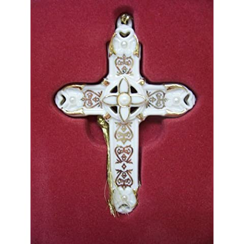 Lenox Florentino y perla Cruz ornamento del árbol de Navidad