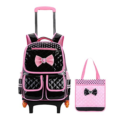 Vbiger 2 in 1 Zaino da scuola leggero Zaino con ruote per bambini con borsetta(Nero)