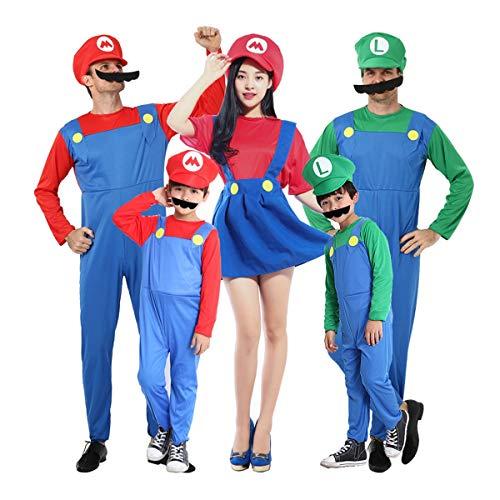Super Mario Luigi Wario Halloween-Kostüm, Halloween-Kostüme Lustige Super Mario Luigi Bruder Kostüm Kinder Kinder Jungen Mädchen Fantasie Cosplay Overall