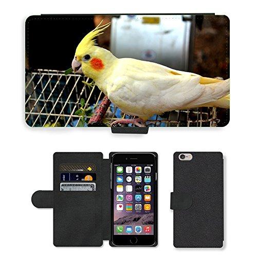 Just Mobile pour Hot Style Téléphone portable étui portefeuille en cuir PU avec fente pour carte//m00139881Animaux Oiseaux oiseau Cacatoès Parrot//Apple iPhone 6Plus 14cm