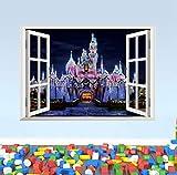 ZBYLL Wall Sticker 3D Alte Prinzessin Schloss Fenster anzeigen Aufkleber WANDAUFKLEBER Home Decorfor Kinderzimmer Aufkleber Kinder Deco