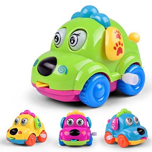 timeracing Cute Cartoon Running Car Wind Up Toy Clockwork Classic Baby Toddler Kids Toy - Random Color