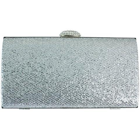 Girly HandBags Diamante Chispa Tarde del Bolso de Embrague del Banquete de Boda Oro Metálico de Plata Blanco Rosado