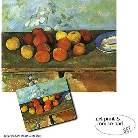 Set Regalo: 1 Póster Impresión Artística (50x40 cm) + 1 Alfombrilla Para Ratón (23x19 cm) - Paul Cézanne, Manzanas Y Galletas,
