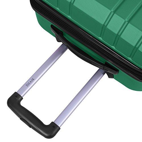 Shaik Serie XANO HKG Design Hartschalen Trolley, Koffer, Reisekoffer, in 3 Größen M/L / XL/Set 50/80/120 Liter, 4 Doppelrollen, TSA Schloss (Handgepäck M, Grün) - 4