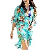 OverDose Copricostume Mare Da donna Chiffon Floreale Nappe Chimono Cardigan Top Costume da Bagno Spiaggia Camicetta Sciolto Elegante Cover-up (XL, verde)