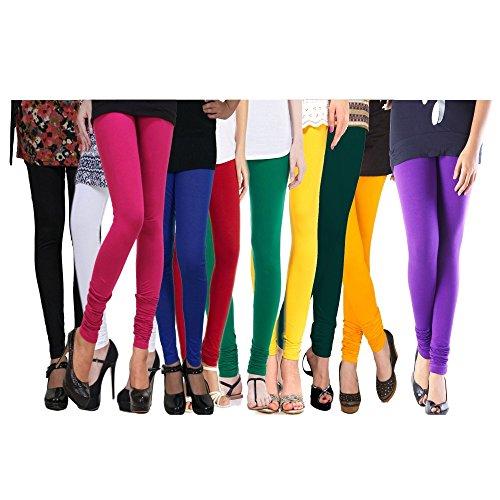 Rooliums Women\'s Cotton Lycra Leggings (Pack of 10), 4 Way, 140 GSM - FREE SIZE