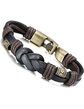 Jstyle Lederarmband Handgemachte Herrenarmband 22cm Armreif Braun Armband Damen Junge