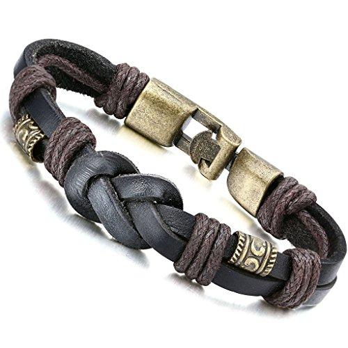 Jstyle Bracelet Homme en Cuir Bracelet avec un fermoir en Alliage -Bracelet retro