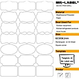 Mr-Label® 7 Types de Fantaisie Forme imperméable Etiquettes adhésives amovibles - Stickers résistant à la déchirure pour la cuisine Utilisation   Bouteilles   Stockage   D'organisation et de dépôt (Taille: 63.5 * 36.1mm) (10 feuilles / totalement 210 étiquettes)