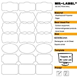 Mr-Label® 7 Types of Fancy Shape Waterproof Removable Adhesive Labels – Tear-resistant Stickers for Kitchen Use | Bottles| Storage| Organizing and Filing (Size: 63.5*36.1mm) (10 Blatt / total 210 Labels)