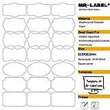 Mr-Label® 7 Types de Fantaisie Forme imperméable Etiquettes adhésives amovibles - Stickers résistant à la déchirure pour la cuisine Utilisation | Bouteilles | Stockage | D'organisation et de dépôt (Taille: 63.5 * 36.1mm) (10 feuilles / totalement 210 étiquettes)