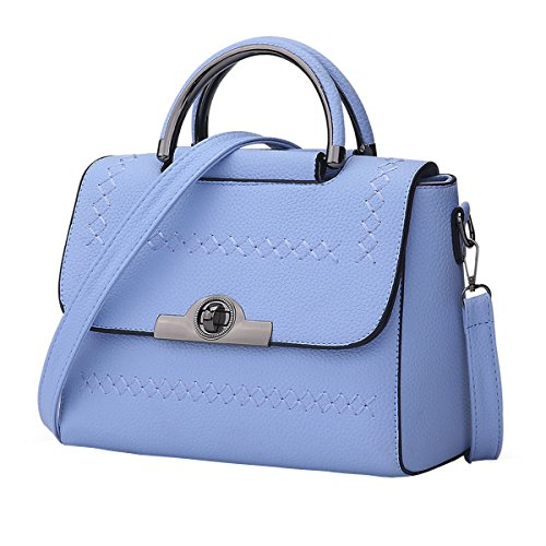 VALIN S844 Nouveau style PU Cuir Sacs portés épaule Sacs portés main,250×120×20(mm) Bleu