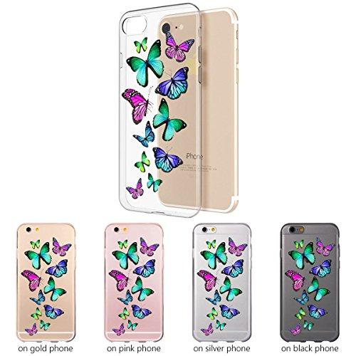 OOH!COLOR® Design Case für iPhone 7 Plus mit Motiv MPA147 weiß Punkte modisch stilvoll Silikon Hülle elastisch Schutzhülle Transparent Case Luxus Cover Slim Etui ROZ001 Schmetterlinge