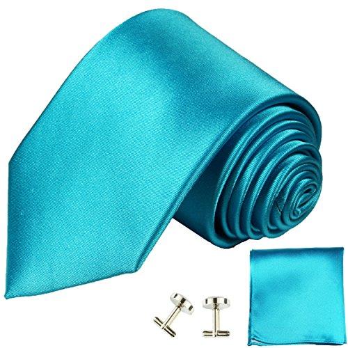 Cravate turquoise satiné uni ensemble de cravate 3 Pièces ( 100% Soie Cravate + Mouchoir + Boutons de manchette )