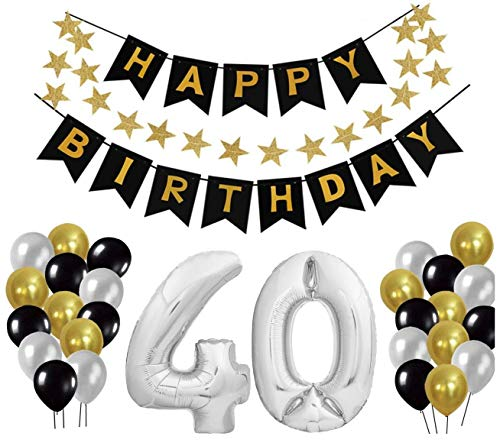 40 Geburtstag Dekoration Set, Deko Geburtstag, Geburtstagsdeko, Happy Birthday Dekoration. Zahlen Luftballons Silber XXL + 24 Große Geperlte Ballons + 1 Happy Birthday Banner (40)