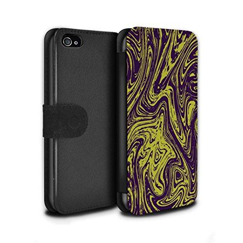 Stuff4 Coque/Etui/Housse Cuir PU Case/Cover pour Apple iPhone 4/4S / Argent Design / Effet Métal Liquide Fondu Collection Jaune