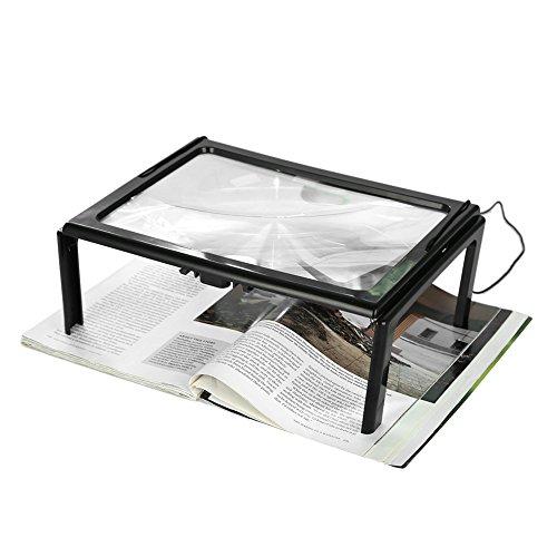 Eckige Leselupe mit LED-Licht - Vergrößerungsglas ohne Verzerrung und für Periodische und Karten, Großpersonen oder mit schlechter Sicht