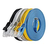 Cat 6 Ethernet-Kabel, 3 m, Cat5e, hohe Bandbreite, flach, Ethernet-Patchkabel, Computer-LAN-Kabel, RJ45-Stecker, 5 Stück