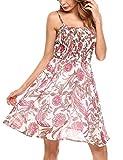 Zeagoo Damen Chiffon Kleid Strandkleid Blumen Druckkleid Bandeaukleid Floral Sommerkleid Spaghetti Trägerkleid, Weiss-1, 42 (Herstellergröße : XL)