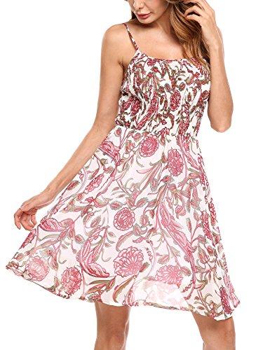 Zeagoo Damen Chiffon Kleid Strandkleid Blumen Druckkleid Bandeaukleid Floral Sommerkleid Spaghetti Trägerkleid (EU 36, Weiss-1)