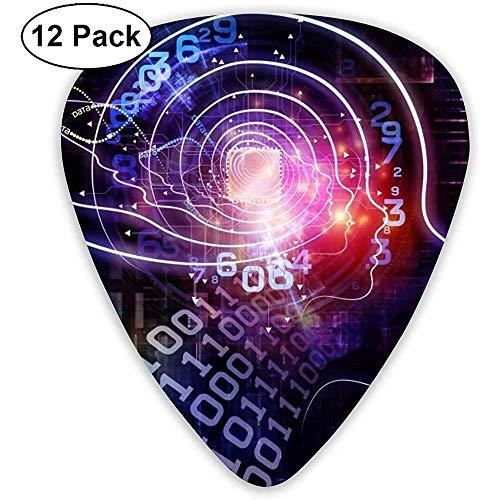 Digital Brain Gitarren Pick Set Gitarren Bass Mandolinen Ukulele 0.46mm 0.71mm 0.96mm 12er Pack Plektren Mit Plektrenhalter
