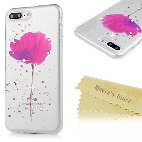 Mavis's Diary Coque iPhone 7 Plus Étui Housse de Protection TPU Silicone Coque Diamant Antichoc Ultra Mince Léger Souple Flexible Portable Douce Phone Case Cover + Chiffon - Lotus Lotus