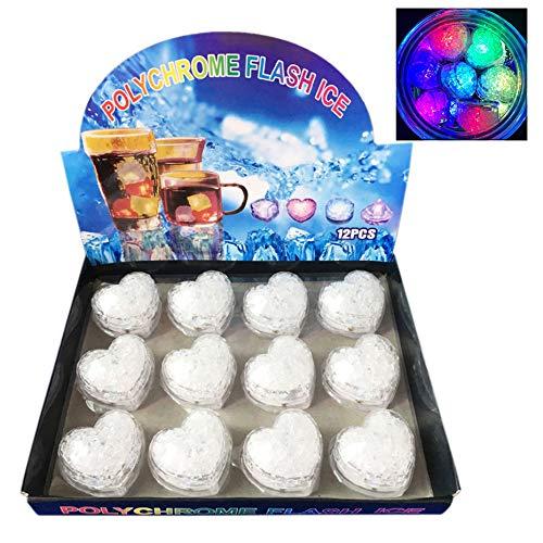 LHKJ LED-Glühen-Licht LED Ice Cubes für Getränke Eiswürfel Licht für Bar Club Hochzeit Weihnachten Halloween Partys Dekoration, 12 Stück